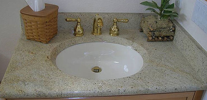white granite vanity