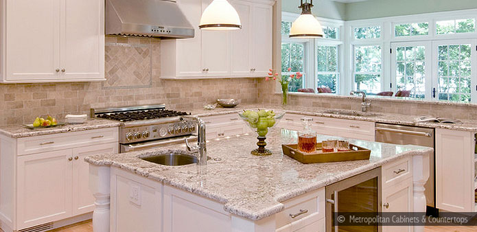 Bianco Romano Countertop and Dark Beige Walls